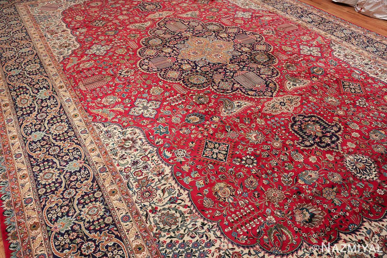 large red background vintage persian tabriz rug 60042 side Nazmiyal