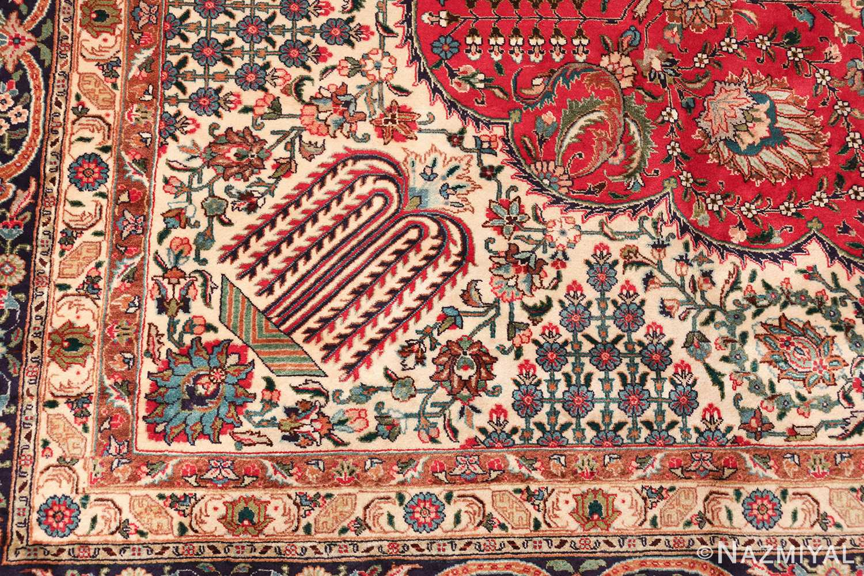 large red background vintage persian tabriz rug 60042 tree Nazmiyal