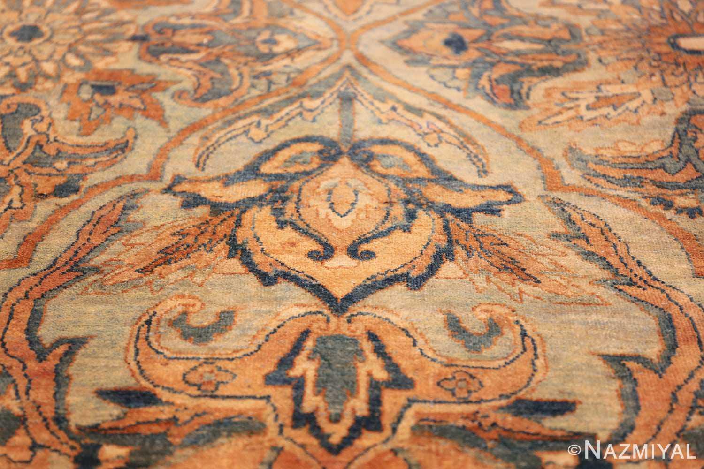large sea foam shield design antique persian kerman rug 49677 closeup Nazmiyal