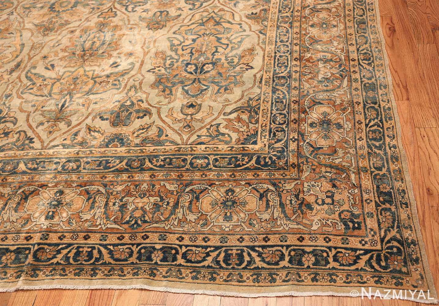 large sea foam shield design antique persian kerman rug 49677 corner Nazmiyal