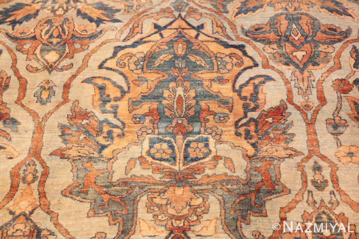 large sea foam shield design antique persian kerman rug 49677 gold Nazmiyal
