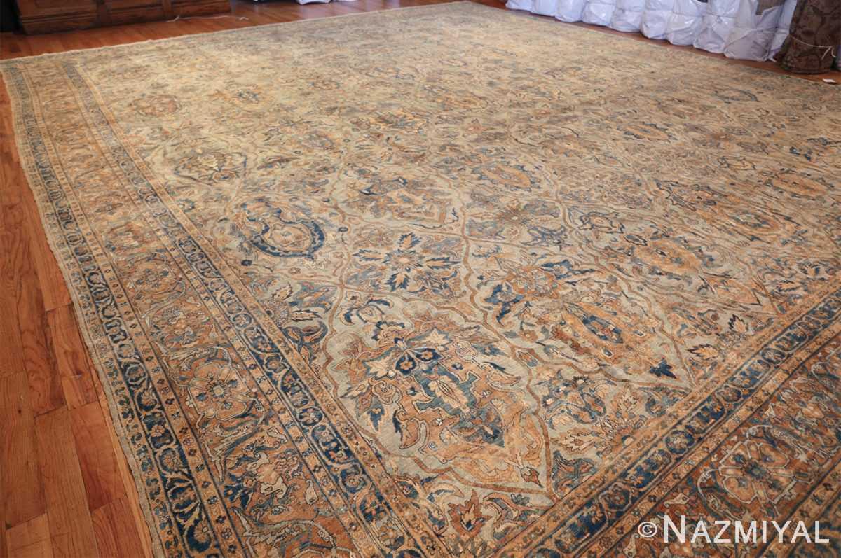 large sea foam shield design antique persian kerman rug 49677 side Nazmiyal