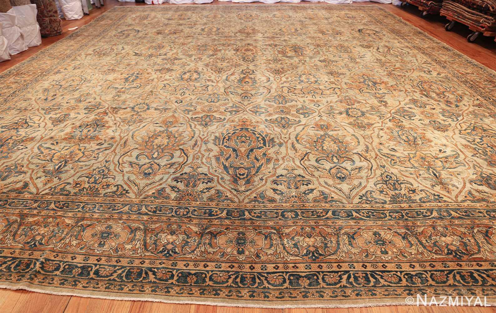 large sea foam shield design antique persian kerman rug 49677 whole Nazmiyal