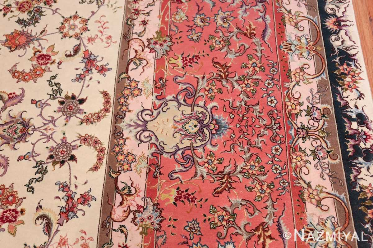 large silk and wool vintage tabriz persian rug 60015 border Nazmiyal