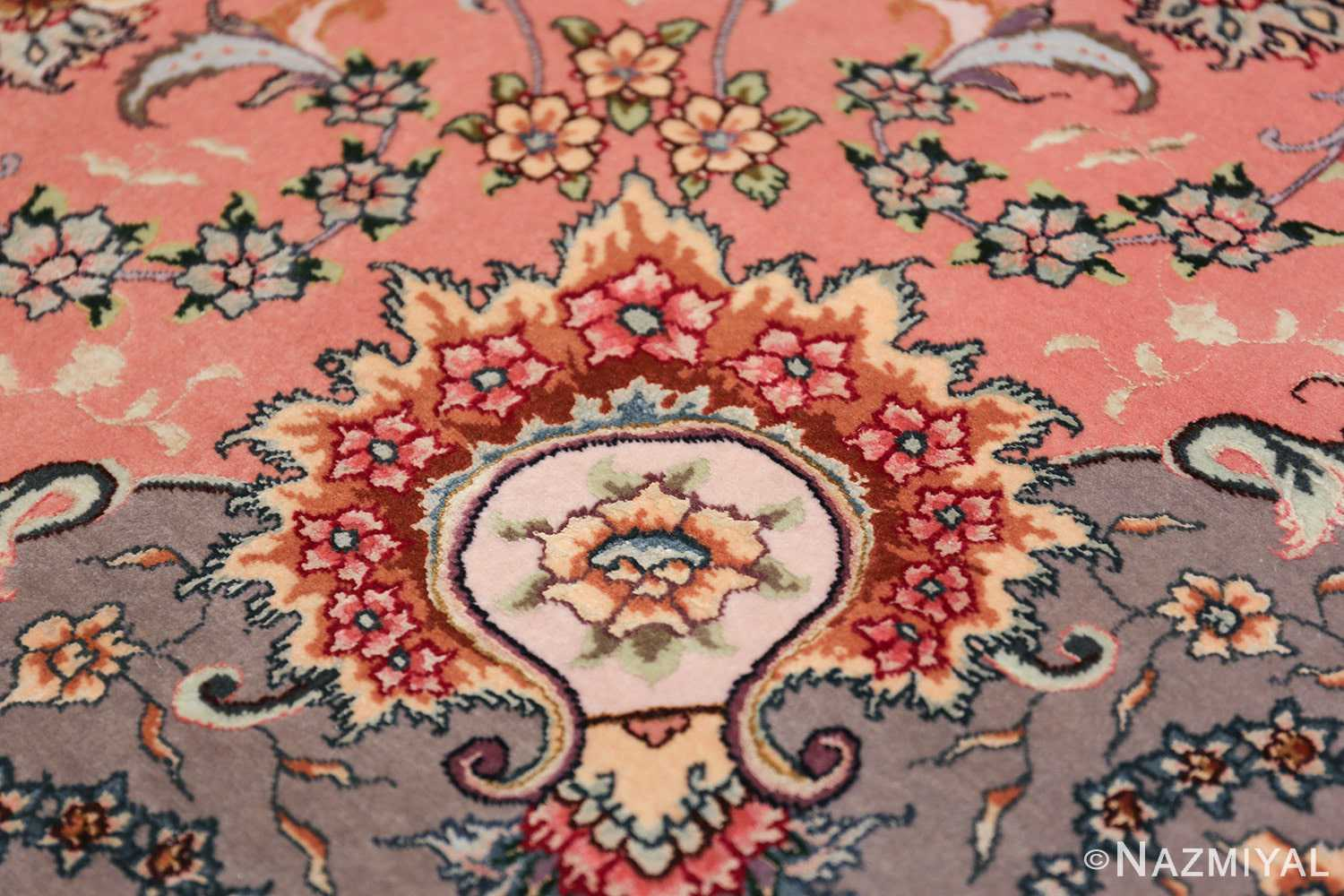 large silk and wool vintage tabriz persian rug 60015 bouquet Nazmiyal