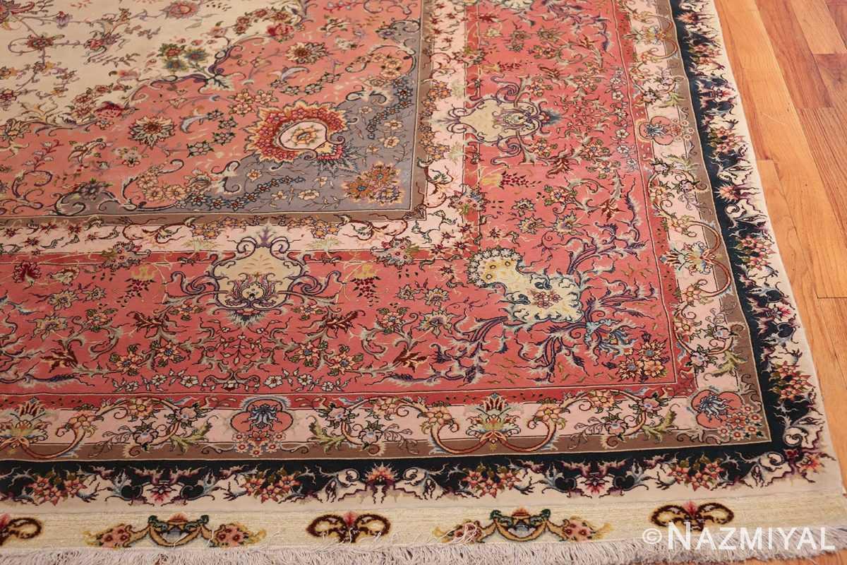large silk and wool vintage tabriz persian rug 60015 corner Nazmiyal