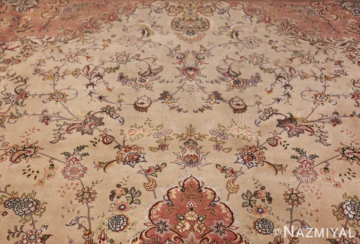large silk and wool vintage tabriz persian rug 60015 design Nazmiyal