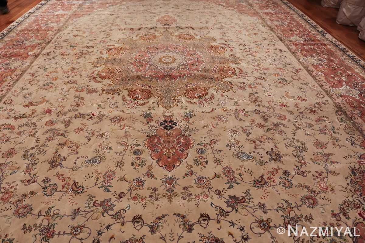 large silk and wool vintage tabriz persian rug 60015 field Nazmiyal