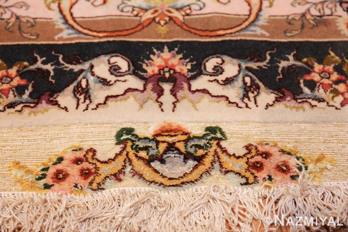 large silk and wool vintage tabriz persian rug 60015 fringe Nazmiyal