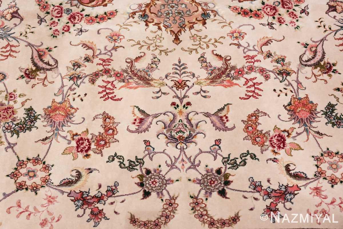 large silk and wool vintage tabriz persian rug 60015 ivory Nazmiyal