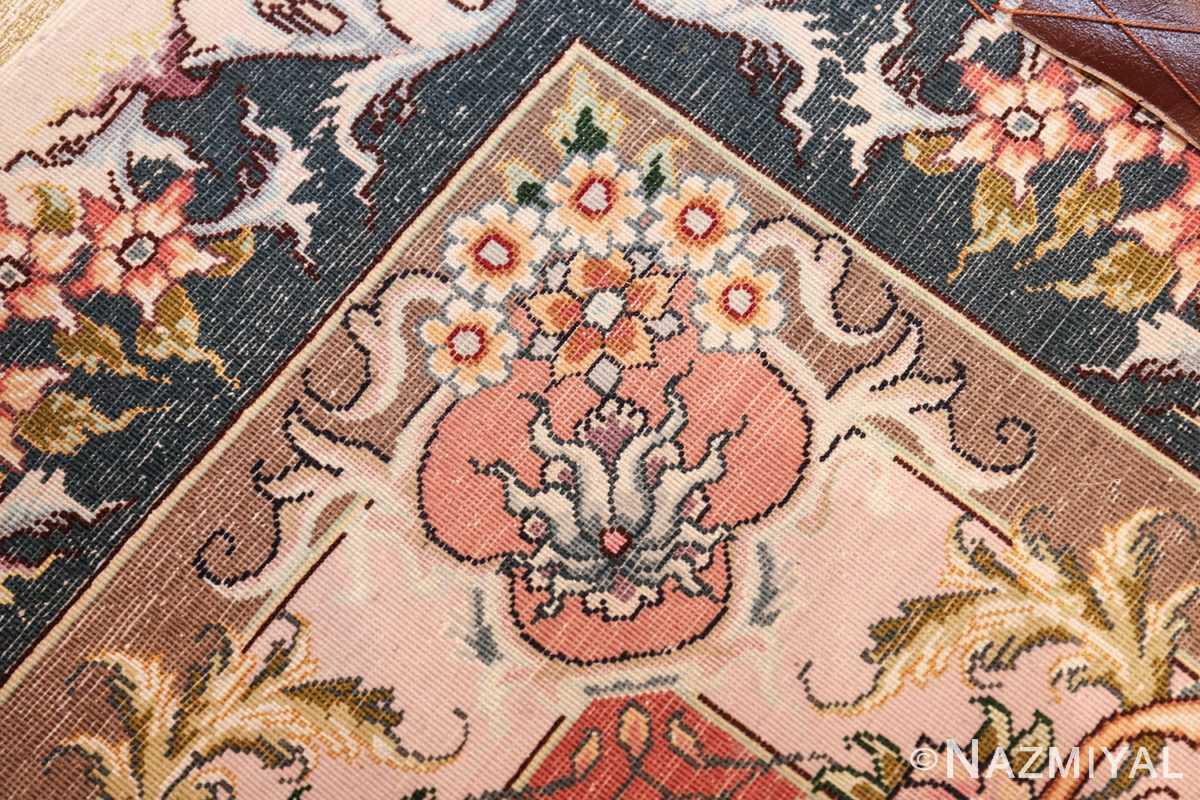large silk and wool vintage tabriz persian rug 60015 knots Nazmiyal