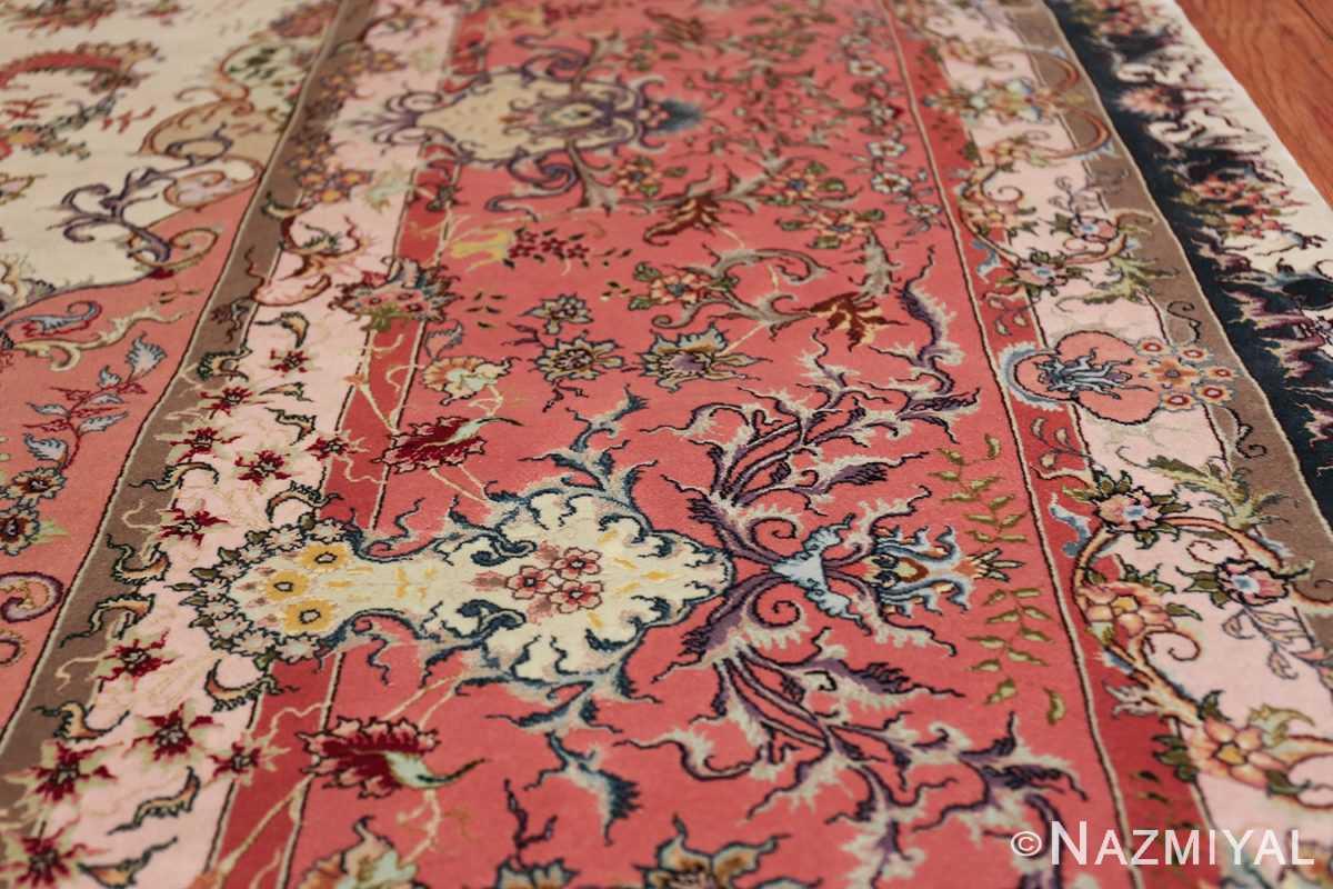 large silk and wool vintage tabriz persian rug 60015 lines Nazmiyal