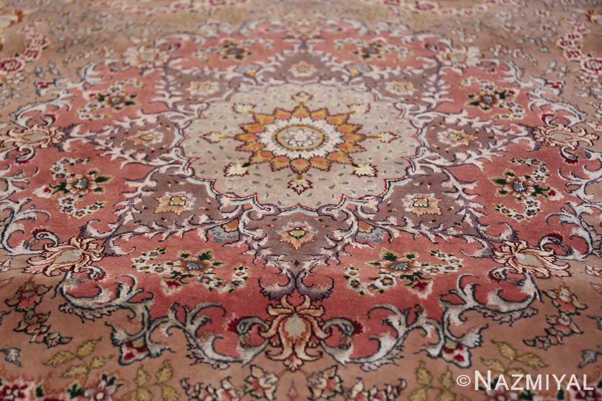 large silk and wool vintage tabriz persian rug 60015 medallion Nazmiyal