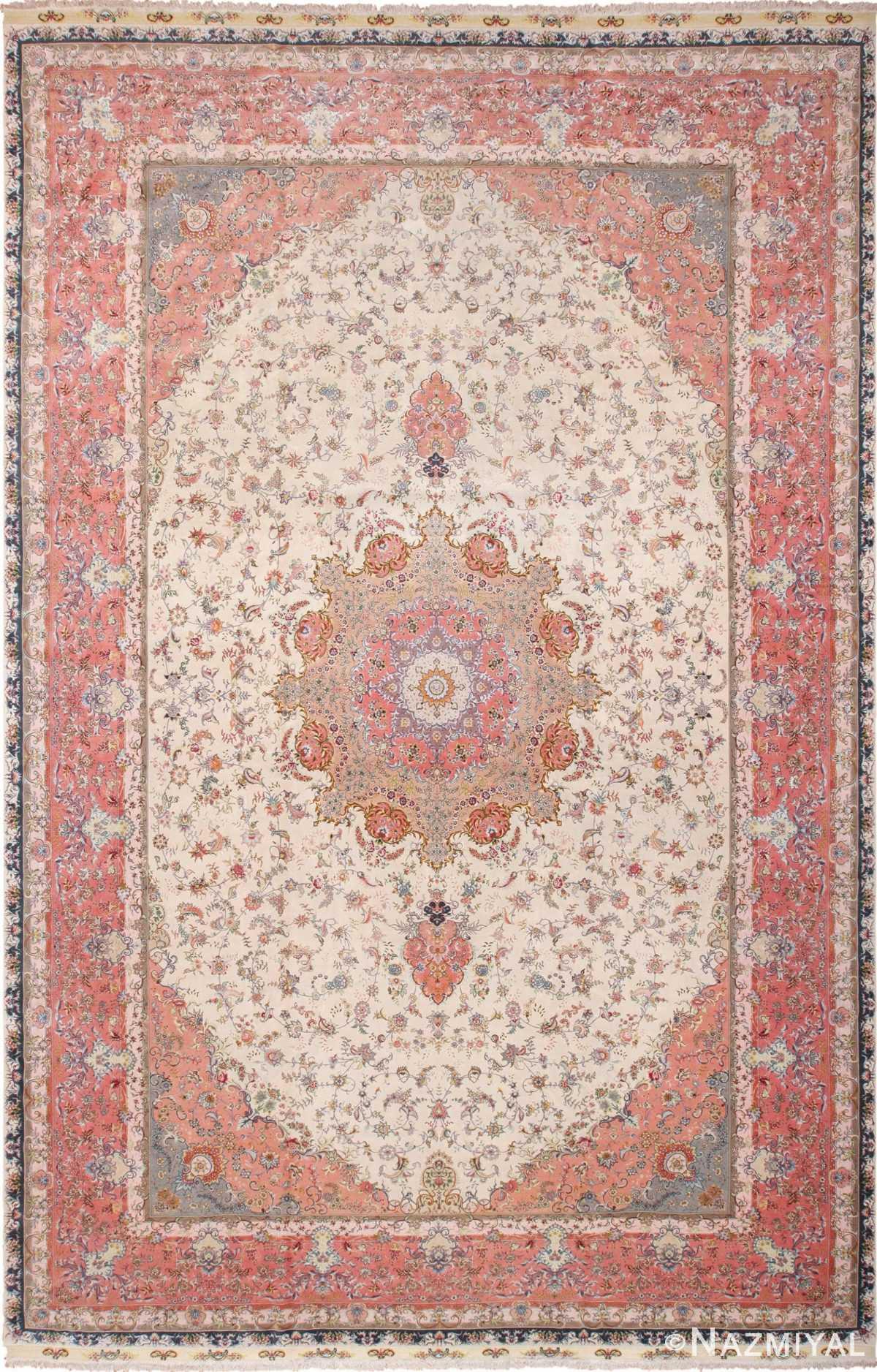 Large Silk and Wool Vintage Persian Tabriz Rug 60015 by nazmiyal