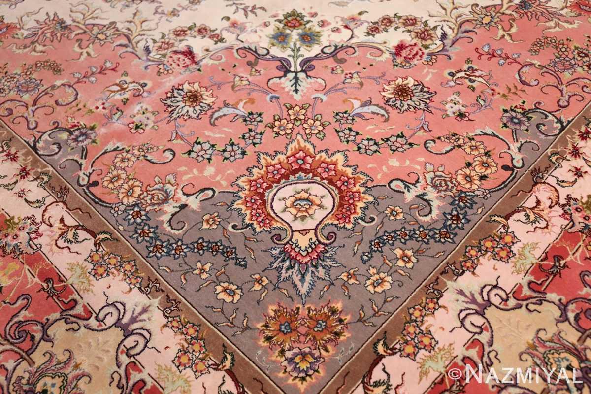 large silk and wool vintage tabriz persian rug 60015 pattern Nazmiyal