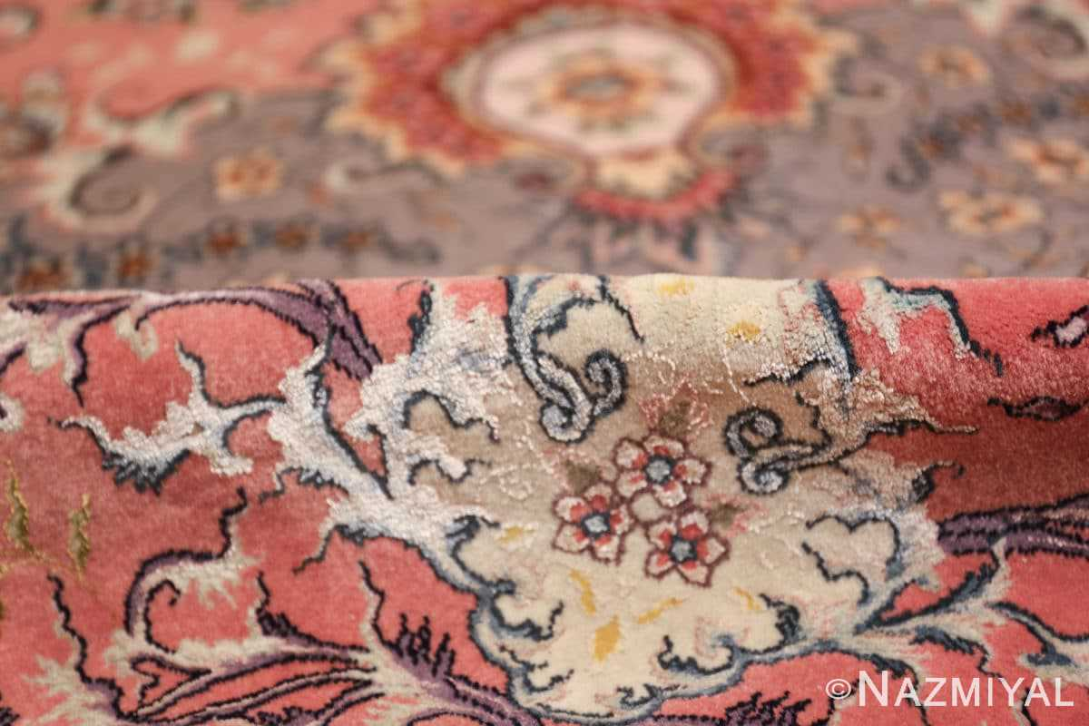 large silk and wool vintage tabriz persian rug 60015 pile Nazmiyal