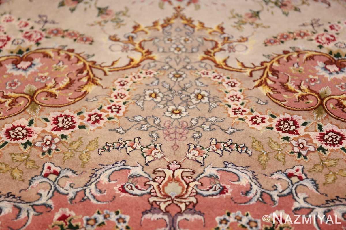 large silk and wool vintage tabriz persian rug 60015 top Nazmiyal