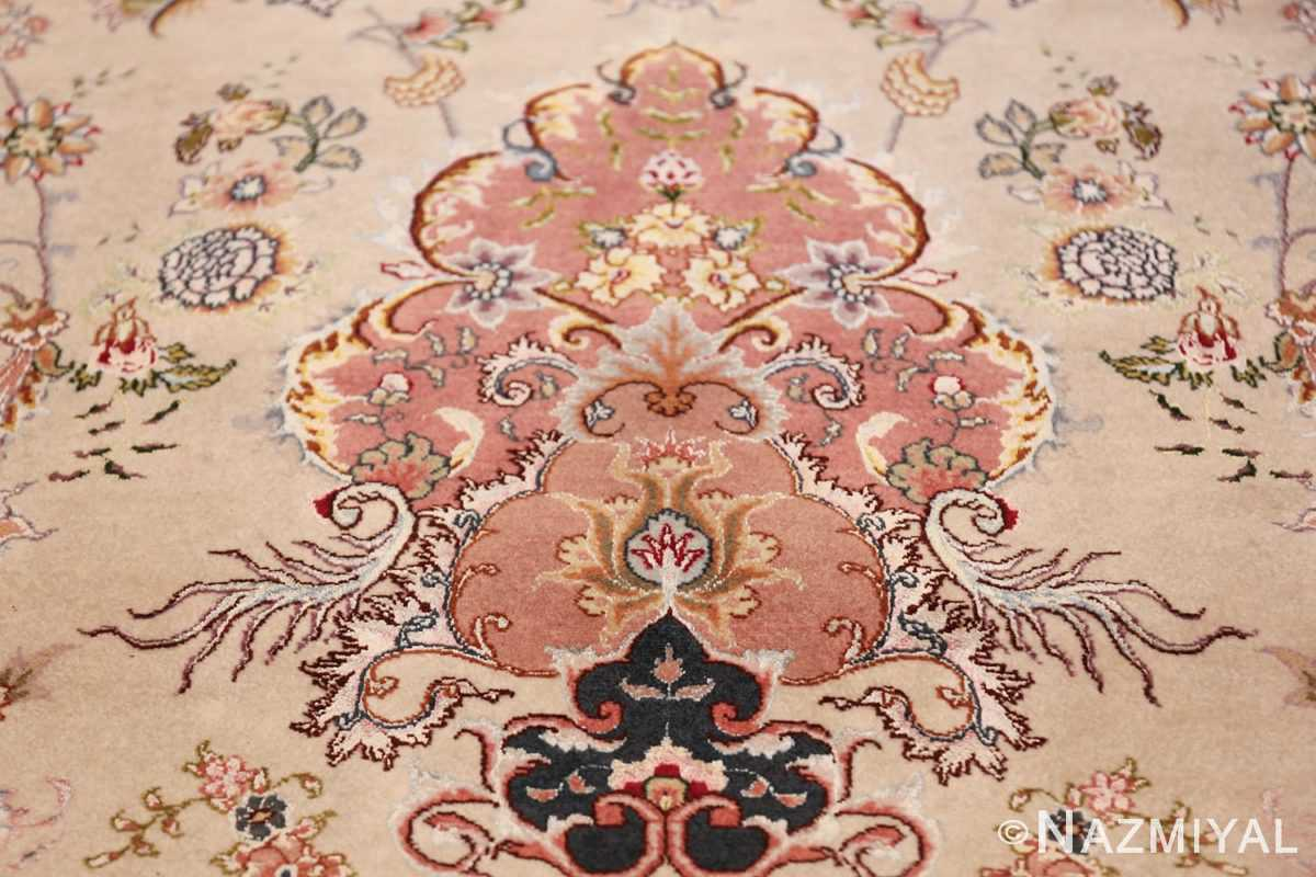 large silk and wool vintage tabriz persian rug 60015 vase Nazmiyal