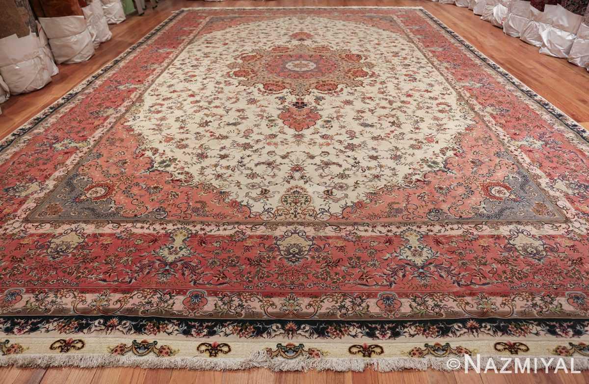 large silk and wool vintage tabriz persian rug 60015 whole Nazmiyal