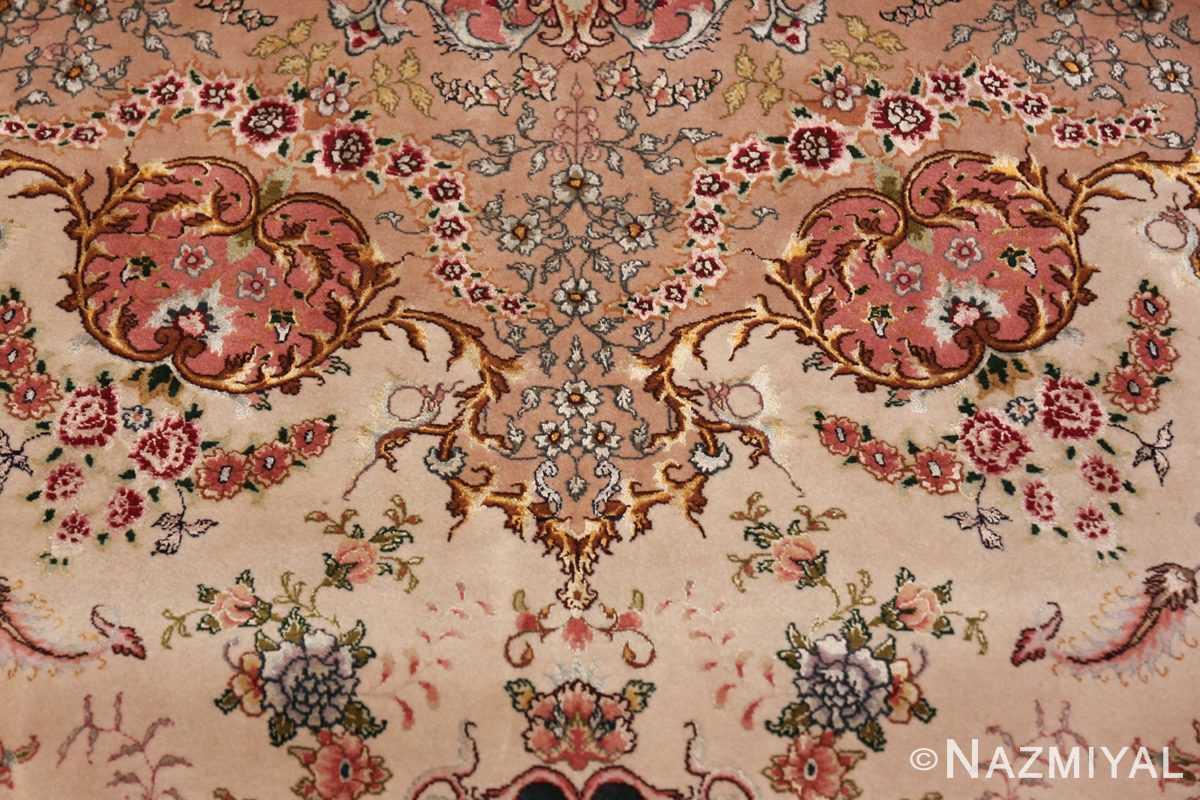 large silk and wool vintage tabriz persian rug 60015 wreath Nazmiyal