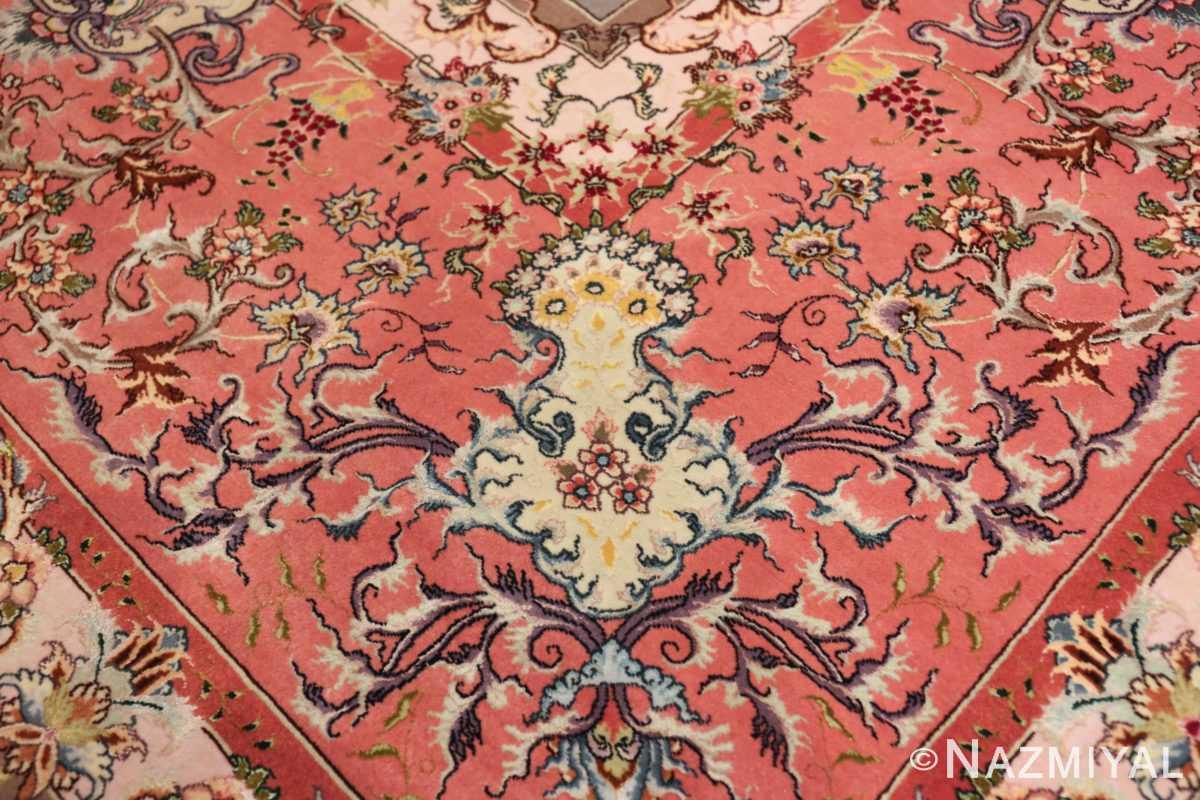 large silk and wool vintage tabriz persian rug 60015 yellow Nazmiyal