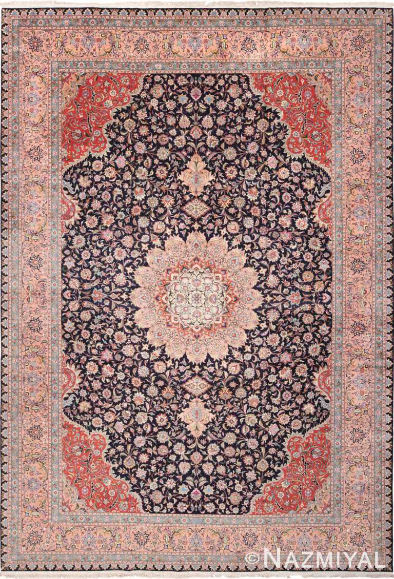 Vintage Large Wool and Silk Persian Tabriz Rug 60044 by Nazmiyal