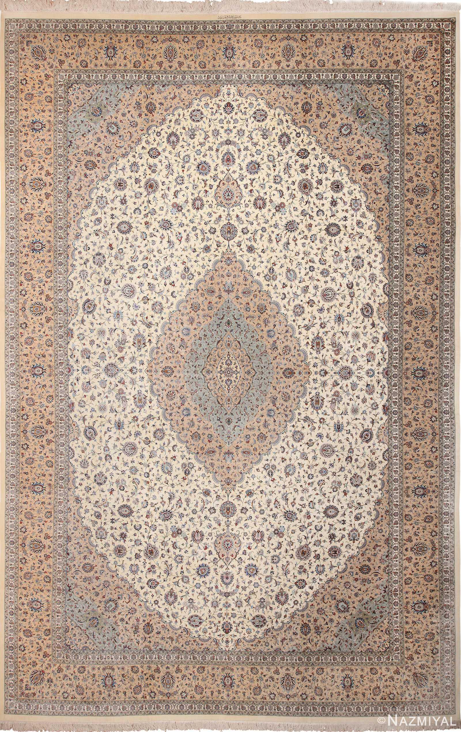 Fine Large Vintage Persian Silk Kashan Rug 60039 by Nazmiyal