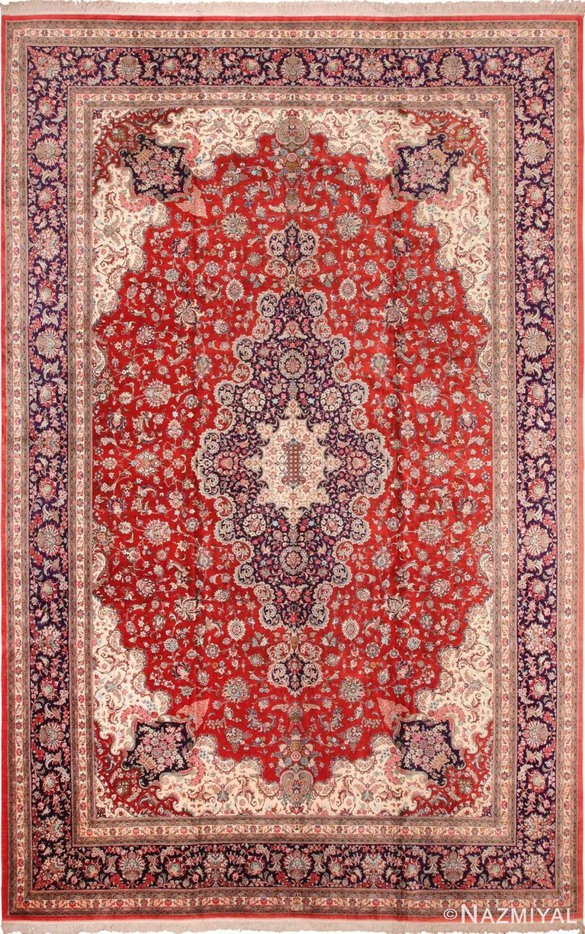 Large Floral Vintage Persian Silk Qum Rug 60022 by Nazmiyal
