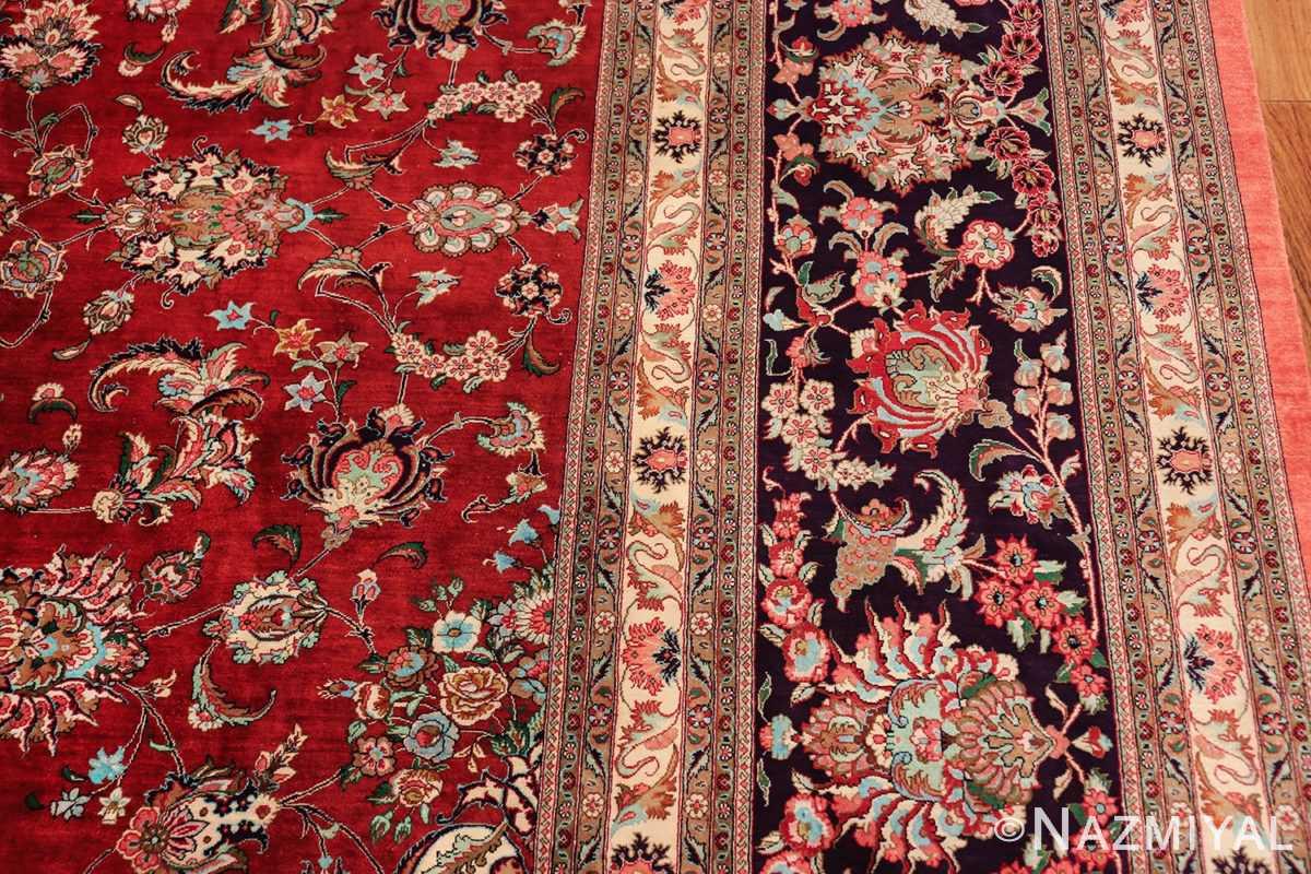 large silk vintage qum persian rug 60022 border Nazmiyal
