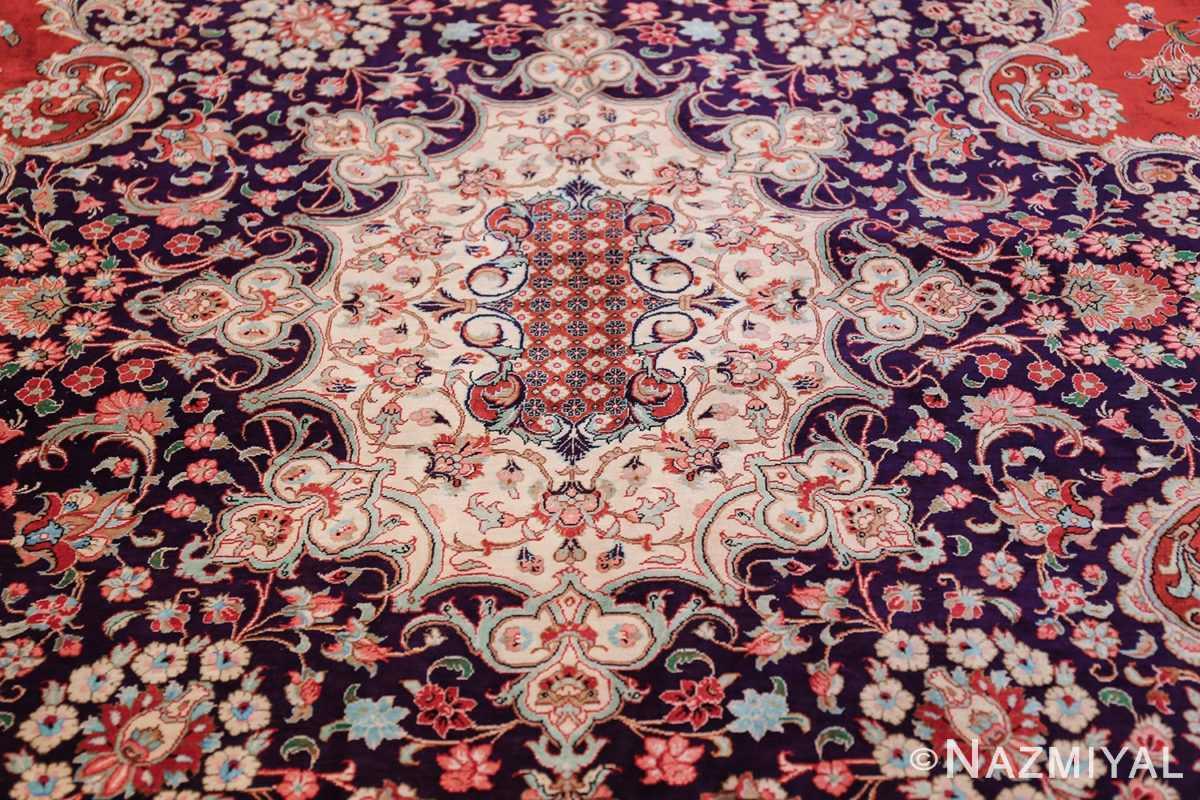 large silk vintage qum persian rug 60022 center Nazmiyal