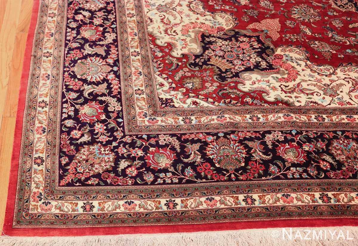 large silk vintage qum persian rug 60022 corner Nazmiyal