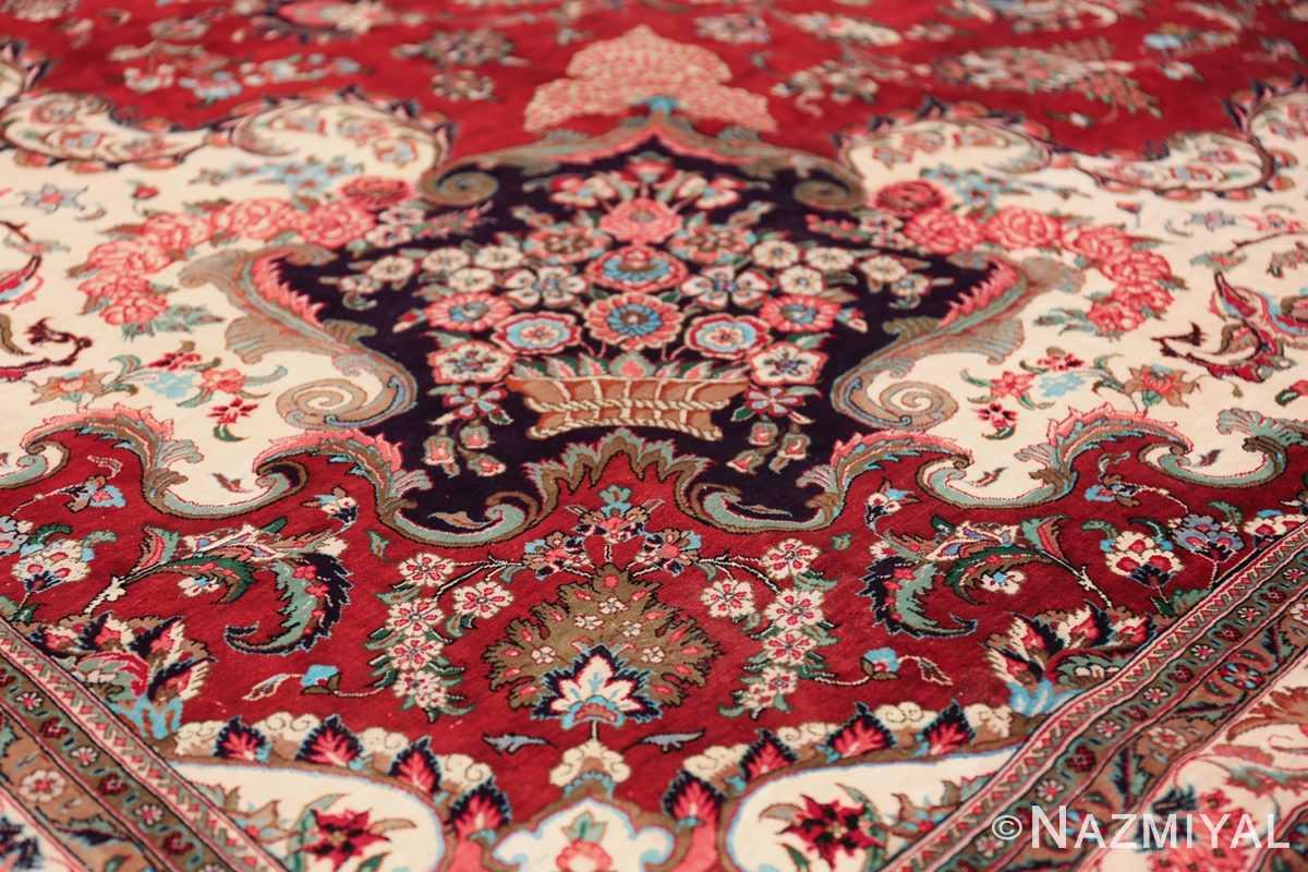 large silk vintage qum persian rug 60022 design Nazmiyal