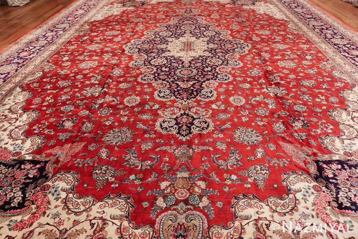 large silk vintage qum persian rug 60022 field Nazmiyal