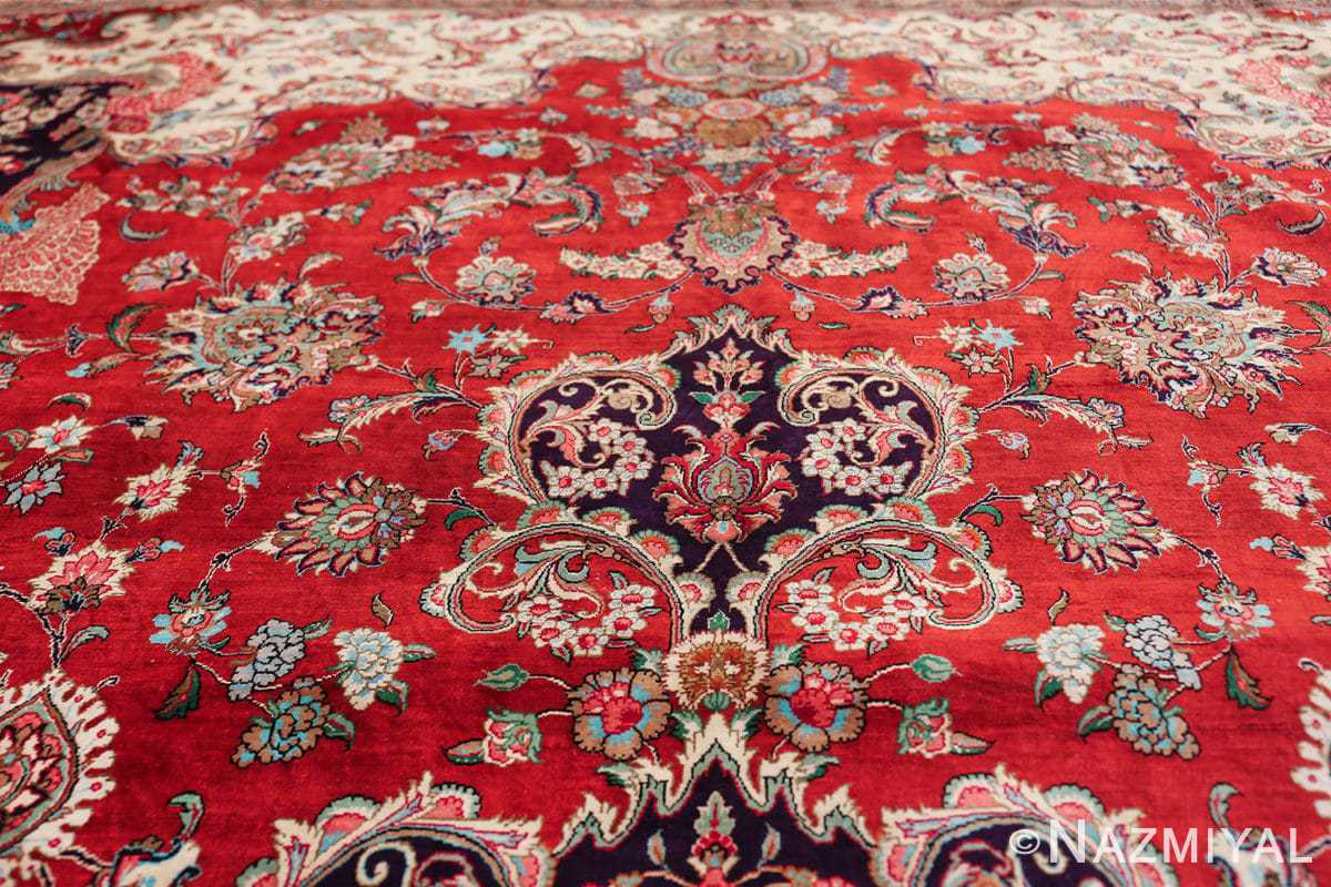 large silk vintage qum persian rug 60022 top Nazmiyal