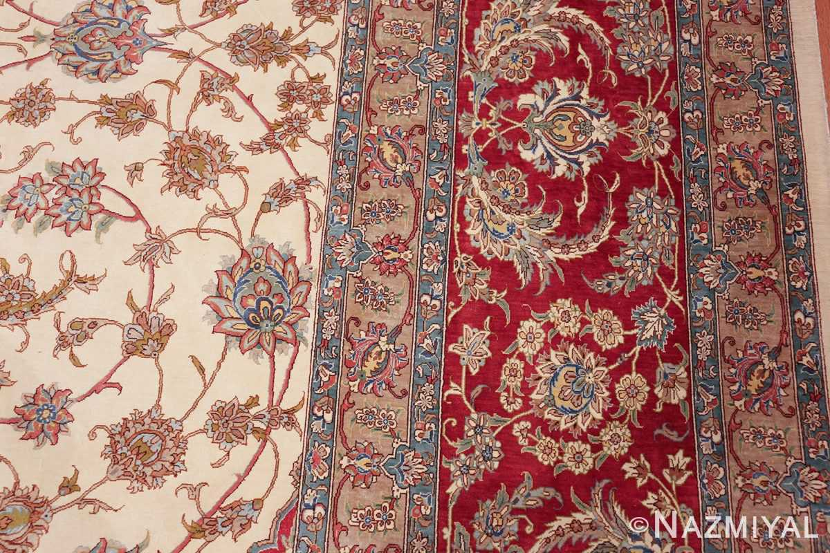 large silk vintage qum persian rug 60025 border Nazmiyal