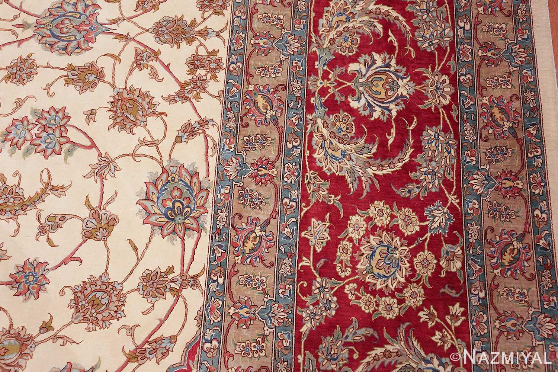 large silk vintage qum persian rug 60025 border Nazmiyal