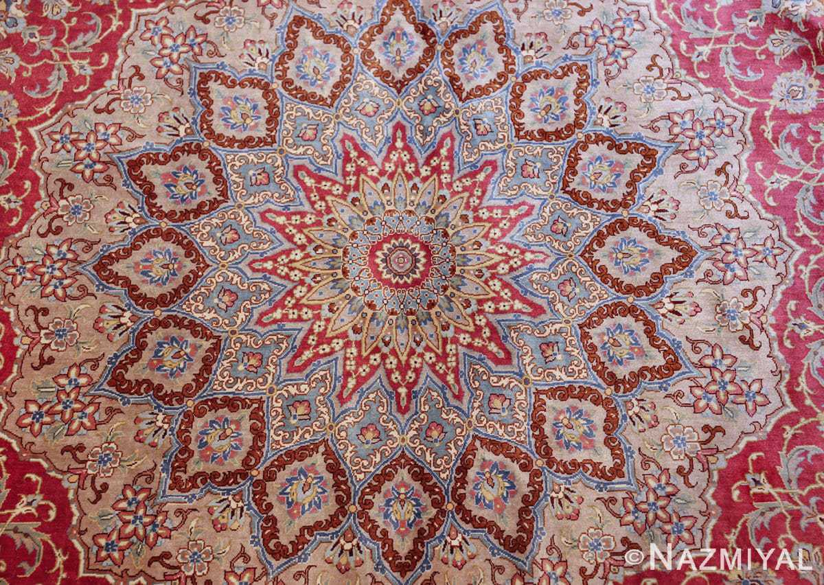 large silk vintage qum persian rug 60025 center Nazmiyal