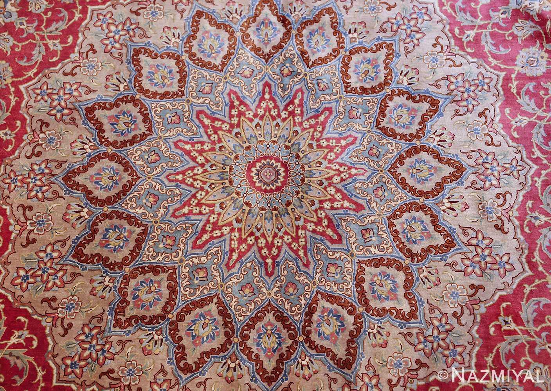 large silk vintage qum persian rug 60025 center Nazmiyal