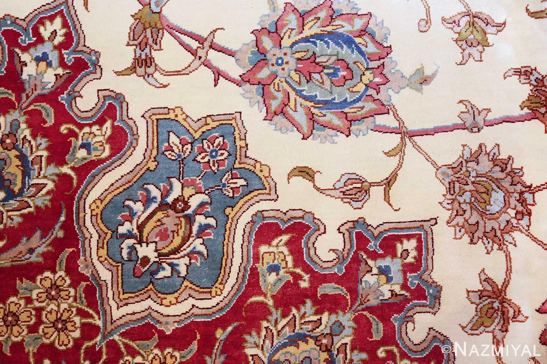 large silk vintage qum persian rug 60025 closeup Nazmiyal