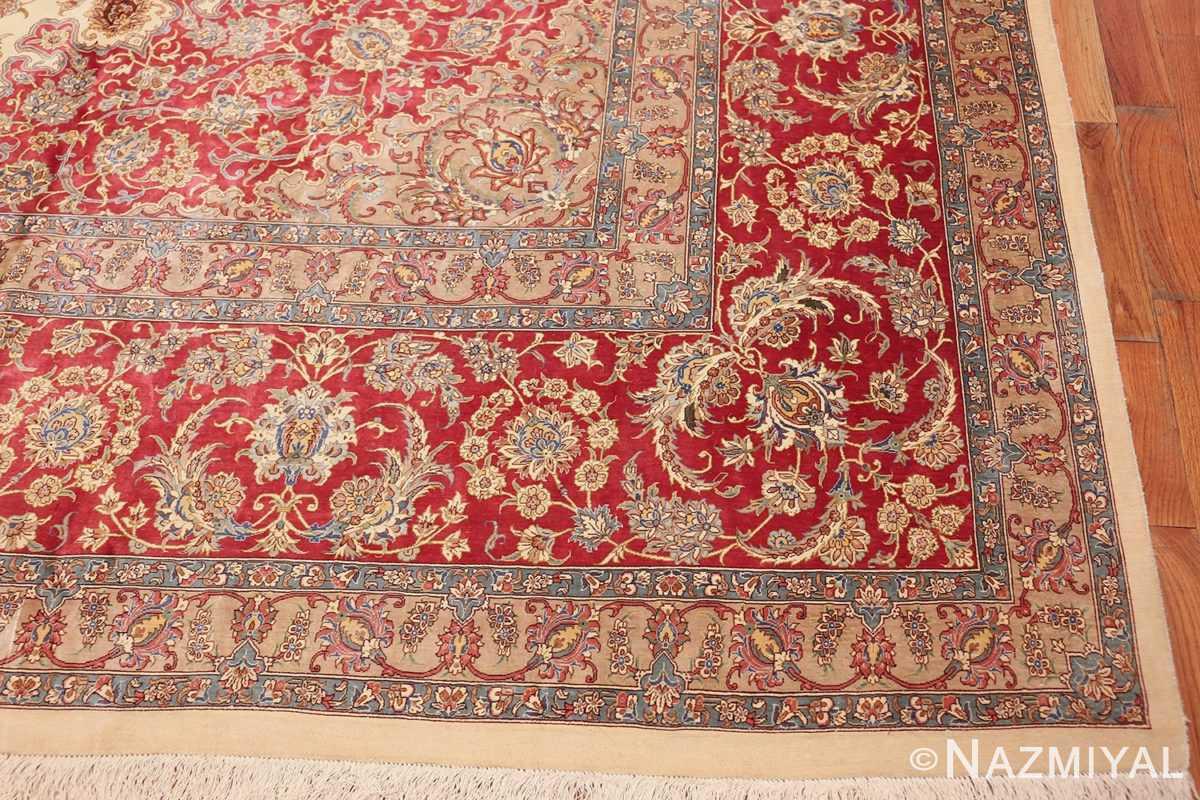 large silk vintage qum persian rug 60025 corner Namziyal