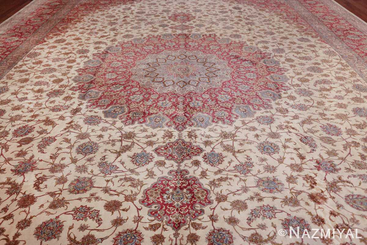 large silk vintage qum persian rug 60025 field Namziyal