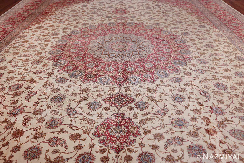 large silk vintage qum persian rug 60025 field Namziyal
