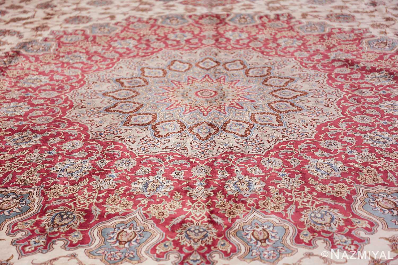 large silk vintage qum persian rug 60025 medallion Nazmiyal