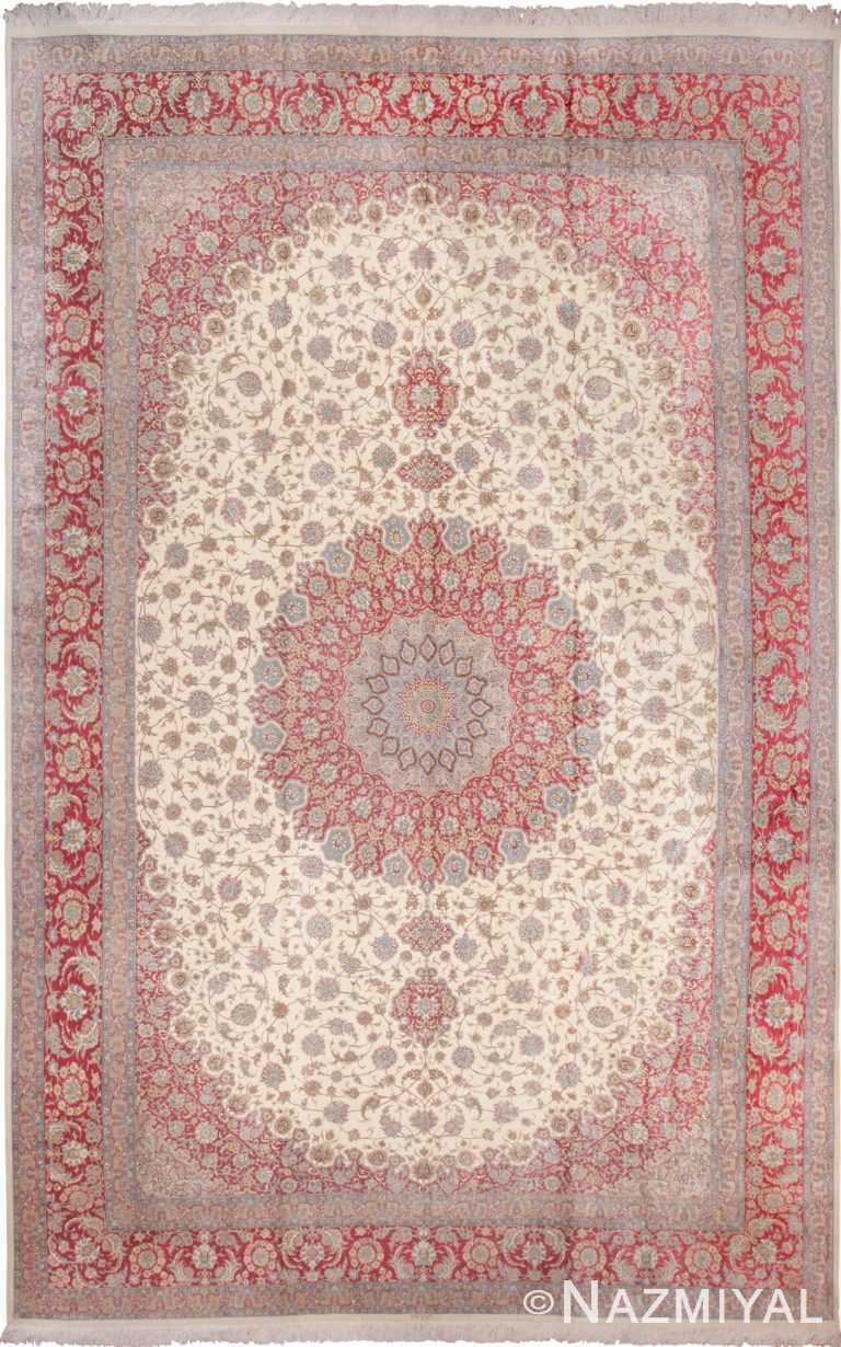 Large Vintage Persian Silk Qum Rug 60025 by Nazmiyal