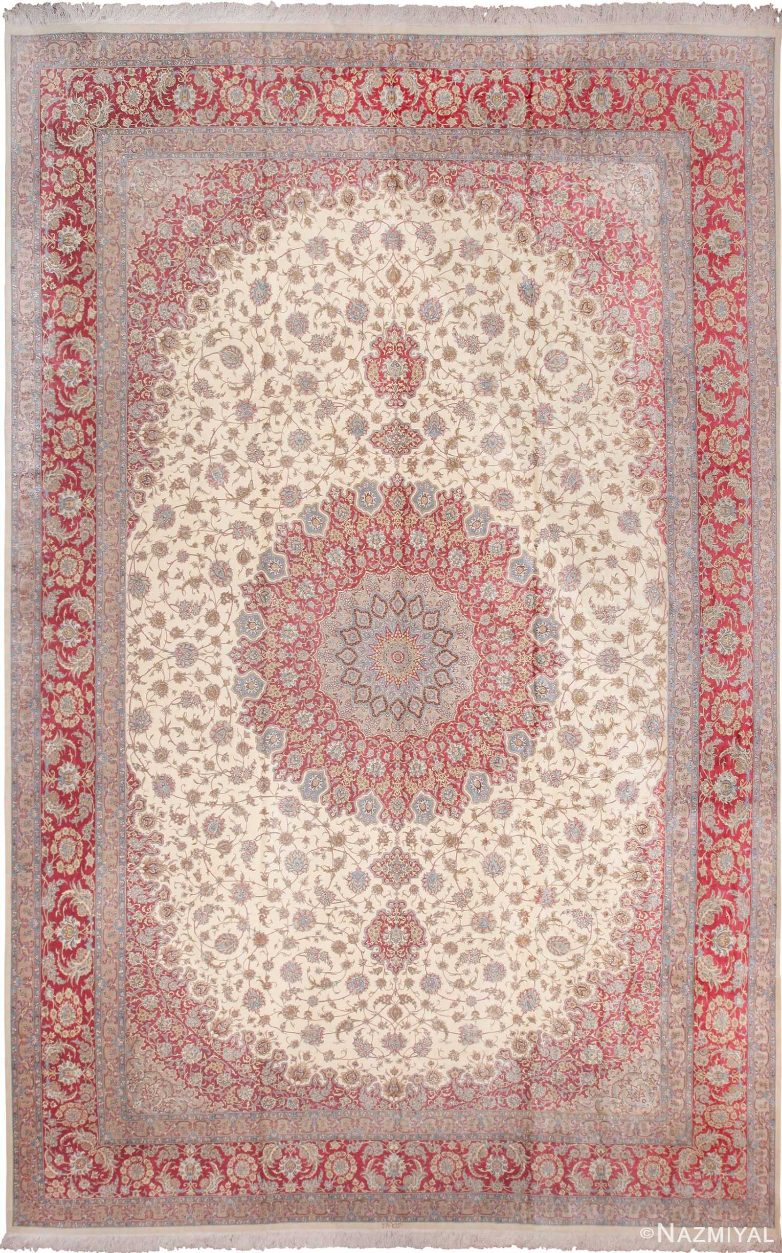 Large Vintage Persian Silk Qum Rug 60025 by Nazmiyal
