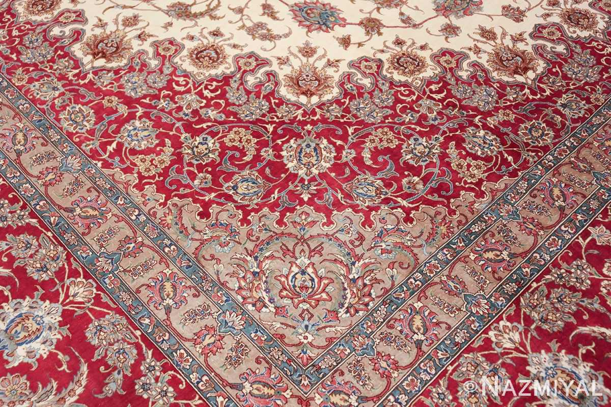 large silk vintage qum persian rug 60025 pattern Nazmiyal
