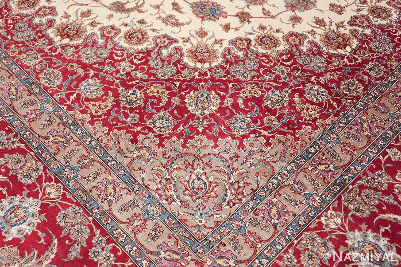 large silk vintage qum persian rug 60025 pattern Nazmiyal