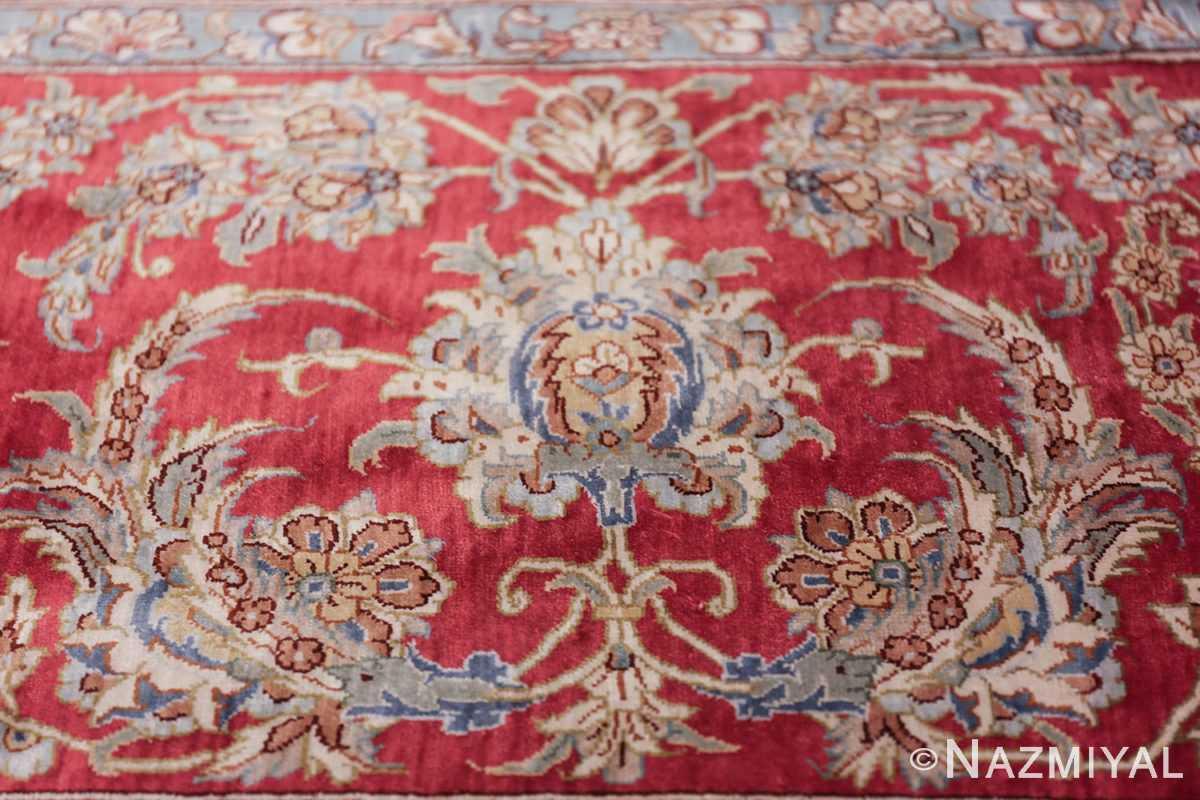 large silk vintage qum persian rug 60025 peony Nazmiyal