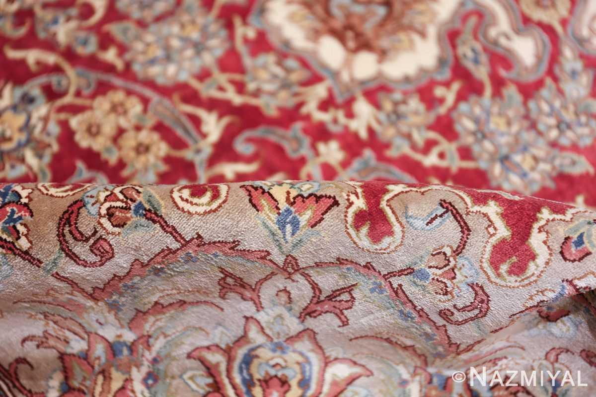 large silk vintage qum persian rug 60025 pile Nazmiyal