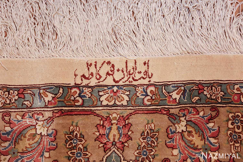 large silk vintage qum persian rug 60025 signature Nazmiyal